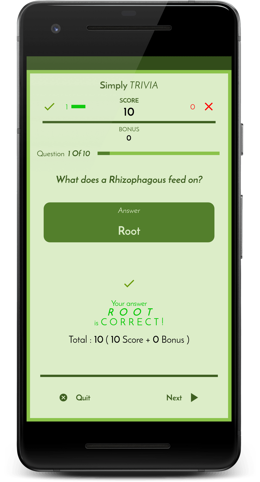 Simply Trivia app screen #3