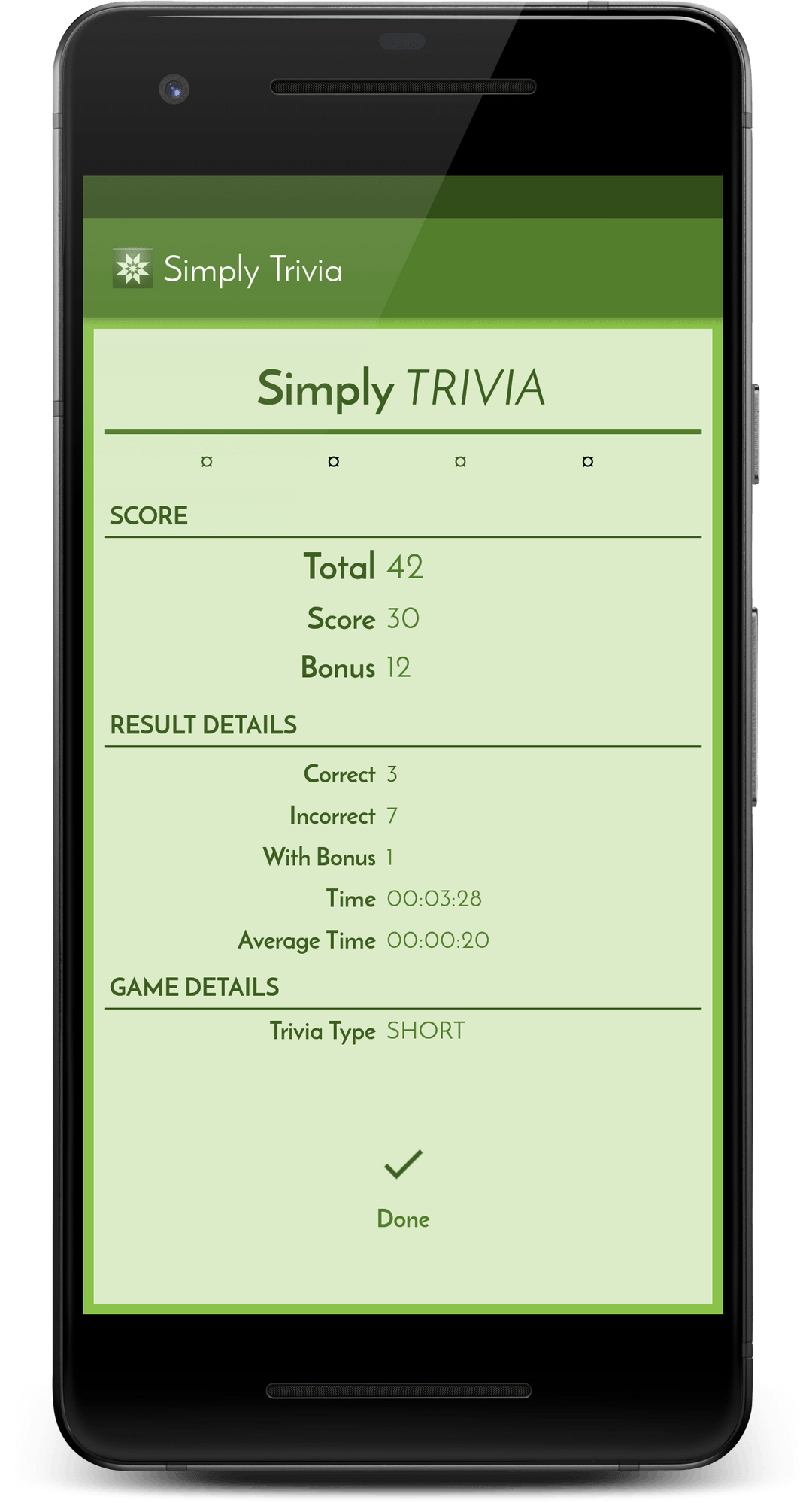 Simply Trivia app screen #4